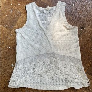White Crochet and lace vest